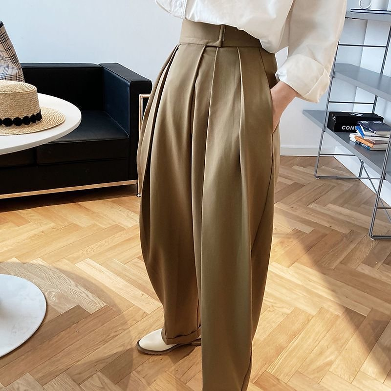 US $33.15 70% OFF Thicken Loose Casual Suit Pants For Women Autumn Winter Fashion Korean High Waist Straight Pant Chocolate Color Trousers 2020 Pants & Capris  - AliExpress