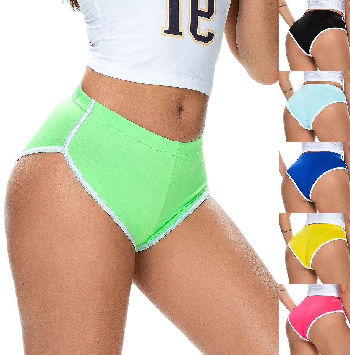 2020 New Summer Ladies Shorts Hot Shorts European and American Women's Sexy Running Stretch Sports Shorts
