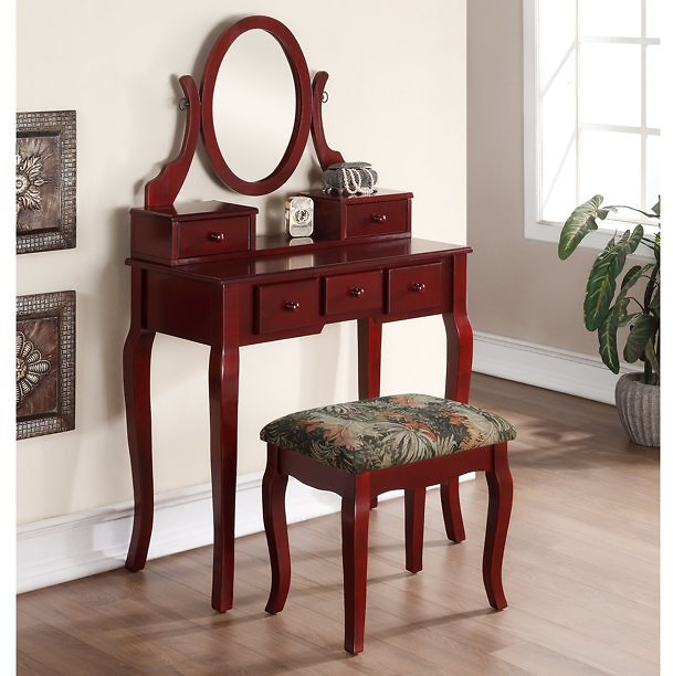 Roundhill Ashley Wood Make-Up Vanity Table and Stool Set, Cherry