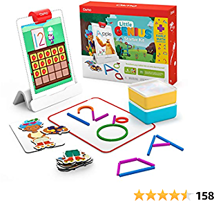 Osmo - Little Genius Starter Kit for IPad + Early Math Adventure - 6 Hands-On Learning Games - Ages 3-5 - Counting, Shapes, Phonics & Creativity IPad Base Included (Amazon Exclusive)
