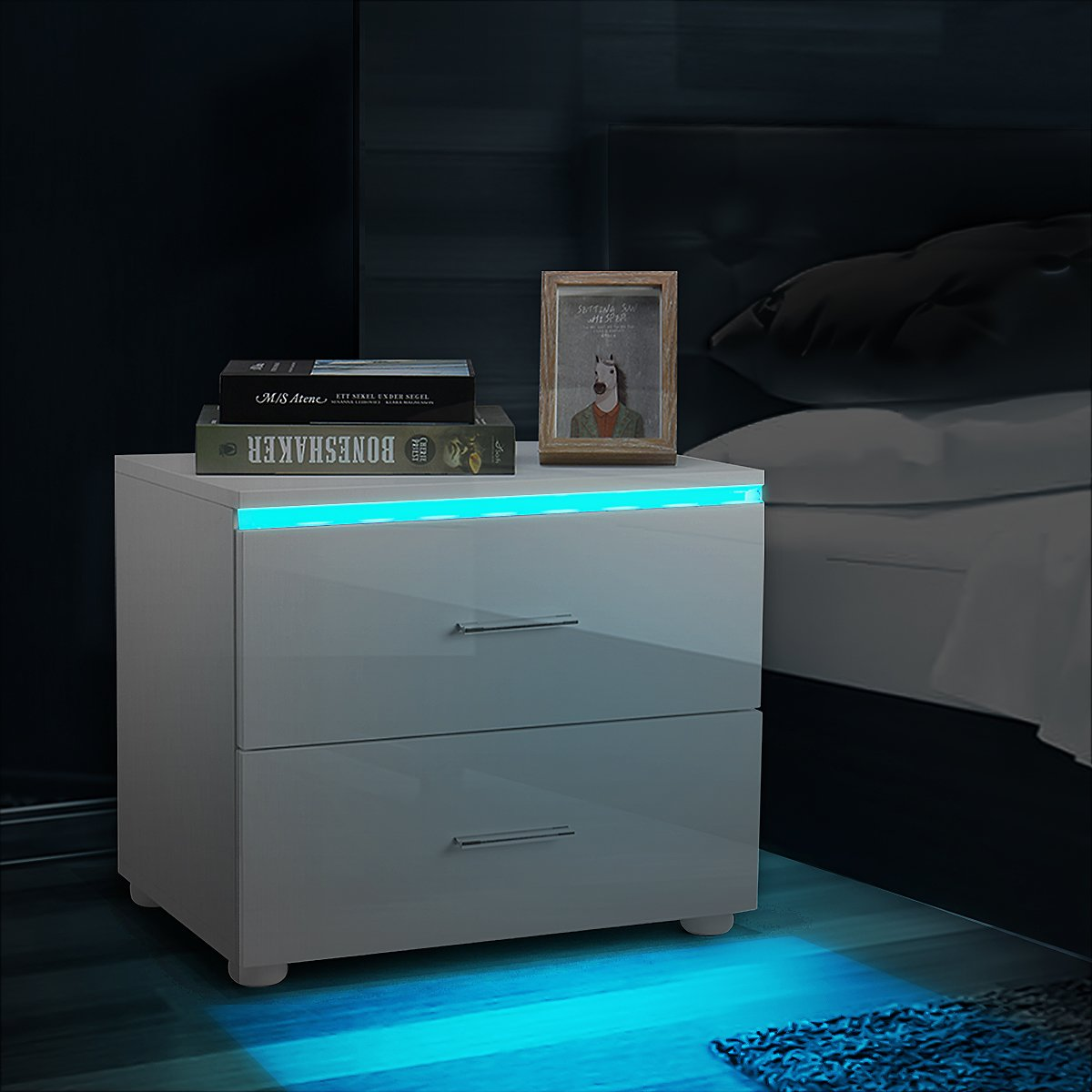 Mordern Nightstand with 2 Drawers, RGB LED Light, High Gloss Wooden Finish, Bedroom Home Decor (18.89x13.77x15.35 Inches)