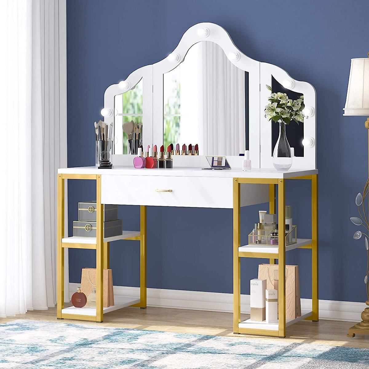 Tribesigns White Vanity Table with Tri-Folding Lighted Mirror