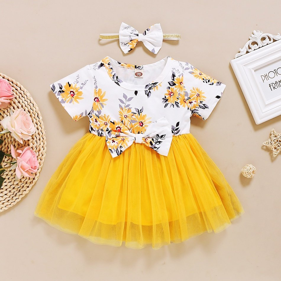 Baby Floral Print Mesh Dress with Bowknot Headband