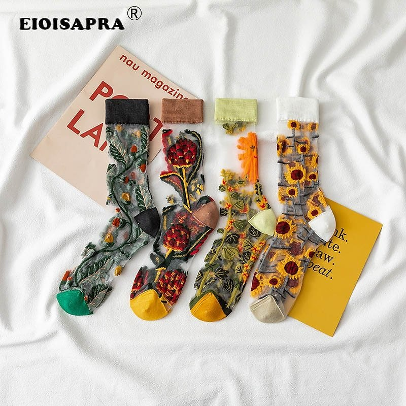US $1.45 42% OFF|Creative Harajuku New Product Crystal Silk Tide Socks Funny Sunflowers Vines Flowers Happy Women Socks Casual High Quality Sox|Socks| - AliExpress