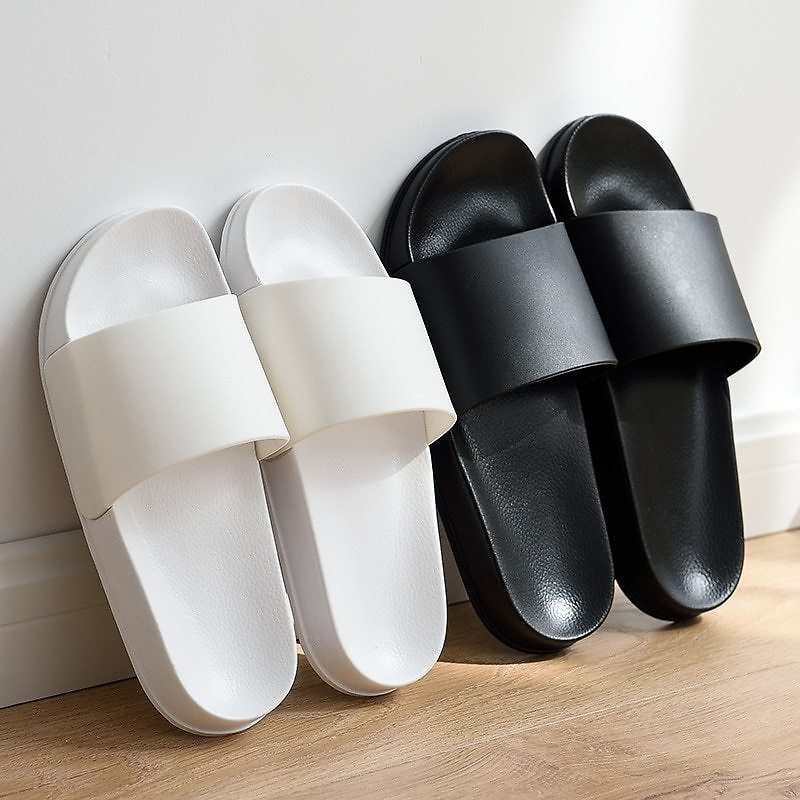 US $10.39 48% OFF|Summer Home Men Slippers Simple Black White Shoes Non Slip Bathroom Slides Flip Flops Couples Indoor Women Platform Slippers|Slippers| - AliExpress