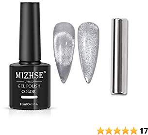 MIZHSE 10ml Universal Cat Eye Gel Nail Polish Bright Silver UV Gel Nail Polish Glitter Nail Art Varnish with Magnetic