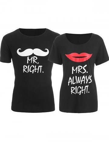 Printed Matching Couple Valentine's Day T Shirt
