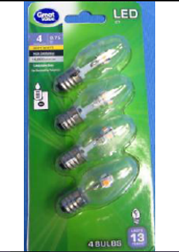 Soft White Clear C7 Candelabra Base Bulbs, 4 Count