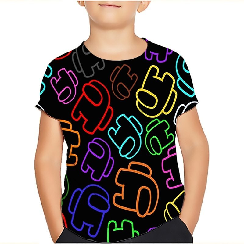 US $1.42 29% OFF|Among Us Cool 3d T Shirt Summer Fashionable Short Sleeve O Neck Tee Tops Children Game Harajuku T Shirts Kid Boys Clothing|T-Shirts| - AliExpress