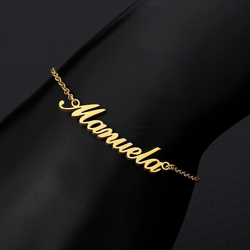US $3.7 30% OFF Personalized Custom Name Anklets For Women Gold Silver Color Stainless Steel Foot Chain Female Ankle Bracelet On The Leg Jewelry Customized Anklets  - AliExpress