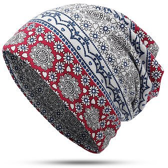 Womens Ethnic Slouchy Beanie Cap Scarf Outdoor Floral Double Layers Cotton TurbanWomen's AccessoriesfromApparel Accessorieson Banggood.com