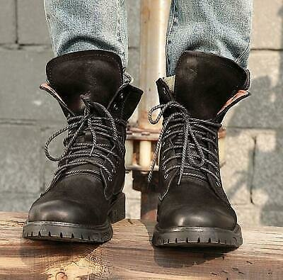 Men Chukka Military Lace Up Fashion-Ankle Boots Round Toe Leather Shoes Winter