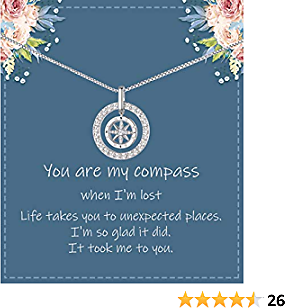 DESIMTION Gifts for Wife from Husband I'd Be Lost Without You Compass Necklace Gifts for Girlfriend Best Birthday Gifts for Women Girls