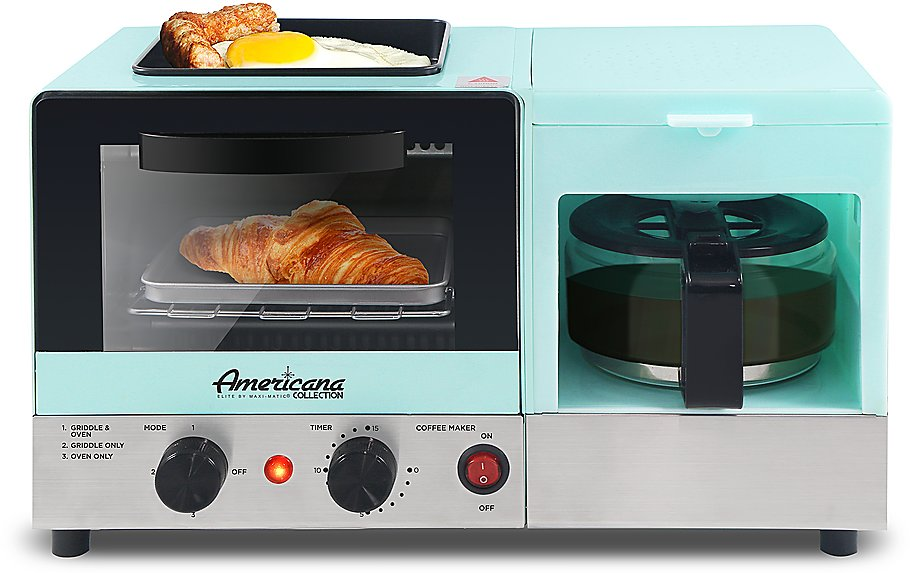 Americana 3 in 1 Breakfast Maker with Coffee Maker, Toaster Oven, Fry Pan(blue) Light Blue EBK8806BL