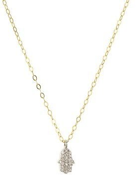 Bloomingdale's Bloomingdale's Marc & Marcella Diamond Hamsa Pendant Necklace in Gold-Plated Sterling Silver, 15.5