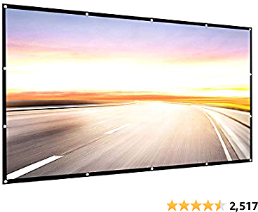 Projector Screen 150 Inch 16:9 HD Foldable Anti-Crease Portable Projection Movies Screen for Home,Theater etc.