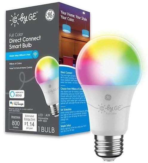 GE C By GE 60-Watt EQ A19 Full Color Dimmable Smart LED Light Bulb Lowes.com