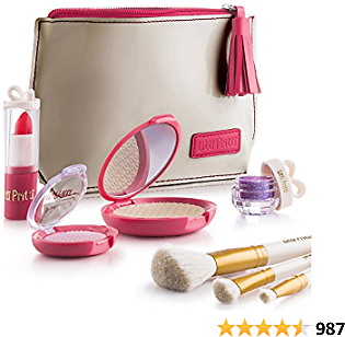 Litti Pritti Pretend Makeup for Girls Set - 8 Piece Cosmetic Play Makeup Kit - PU Leather Case