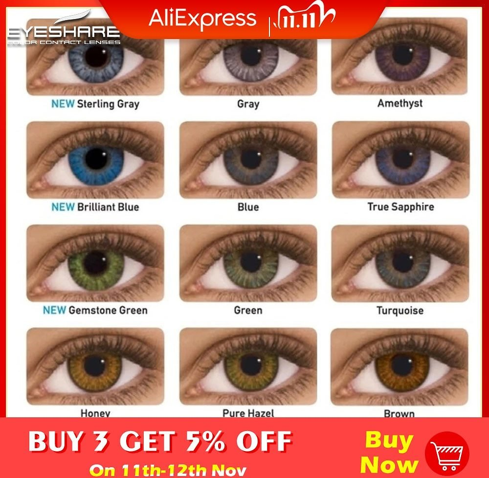 US $4.09 59% OFF EYESHARE 2pcs/pair 3 Tone Series Colored Contact Lenses for Eyes Colored Eye Lenses Color Contacts Contact Lenses  - AliExpress
