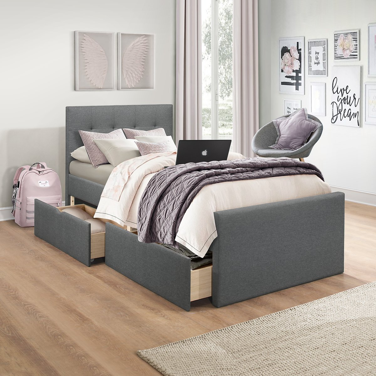 Emory Upholstered Twin Platform Bed With 2 Storage Drawers, Charcoal, By Hillsdale Living Essentials