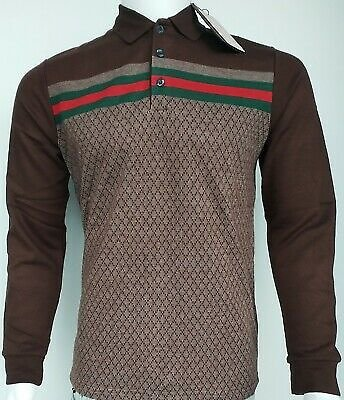 New Polo Gucci Men's Diamond Model Brown, Blue Fast Shipping Long Sleeve