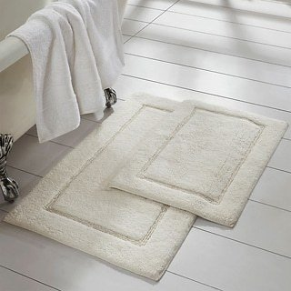 2-Pack Solid Loop With Non-Slip Backing Bath Mat Set