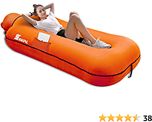 SEGOAL Inflatable Lounger Beach Bed Camping Chair Air Sofa Couch Hammock with Pillow Waterproof Anti-Air Leaking Single Layer Nylon Fabric for Hiking Travel Beach Park Picnic, No Pump Required
