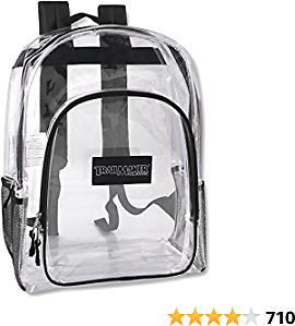 Deluxe Model Water Resistant Clear Backpacks for Men, Women, Kids, With Reinforced, Padded Back Support Straps