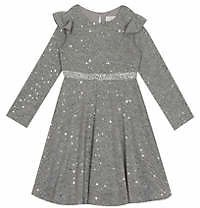 Rare Editions Girls 7-16 Hacci Knit Dress with Foil Dots