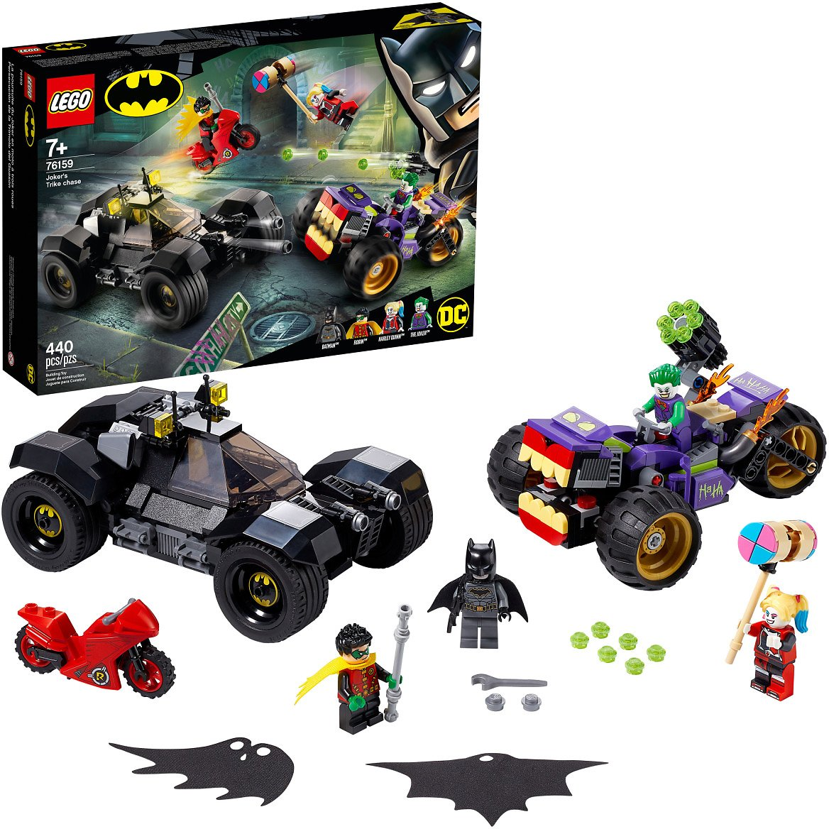 LEGO DC Batman Joker's Trike Chase 76159 Batmobile Building Toy with Action Minifigures (440 Pieces)