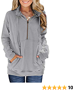 Women's Lightweight 1/4 Zip Pullover Tops Stand Collar Drawstring Tunic Sweatshirts with Pockets