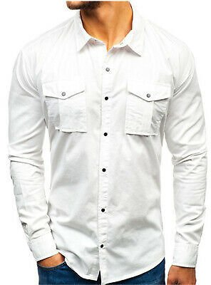 Mens Full Dress Casual Multi-pocket Long Sleeves Solid Color Cotton T-shirt