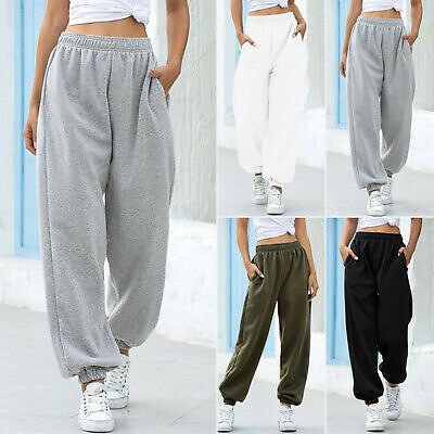 Women Jogging Elastic Waist Sweatpants Baggy Active Pants Warm Outdoor Sports