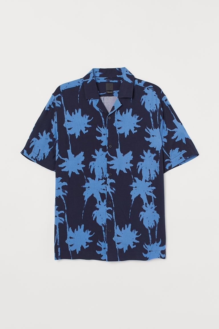 Patterned Resort Shirt - Dark Blue/palm Trees - Men | H&M US