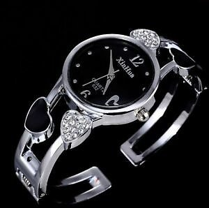 Women Crystal Stainless Steel Bangle Watches Ladies Cuff Bracelet Wristwatch
