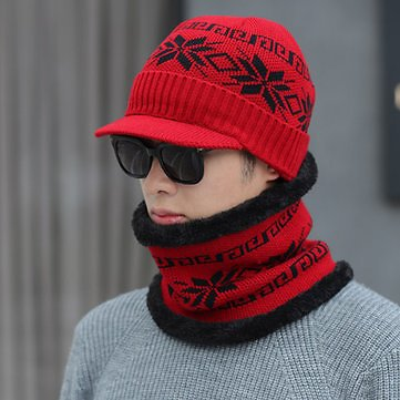 Unisex Men Winter Windproof Knit Plus Velvet Hat Scarf Set Women's Accessories from Apparel Accessories on Banggood.com
