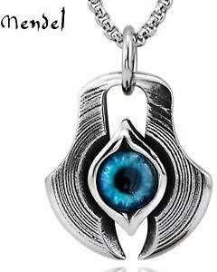 MENDEL Mens Devil Eyeball Blue Evil Eye Pendant Necklace Men Stainless Steel