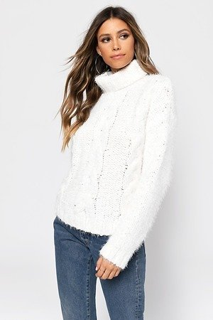 Come With Me White Turtleneck Sweater