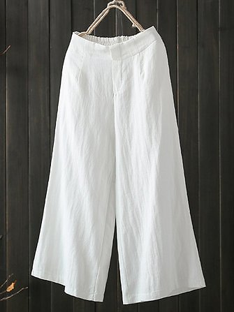 Women High Elastic Waist Loose Cotton Wide Leg Pants with Pockets Bottoms from Women's Clothing on Banggood.com
