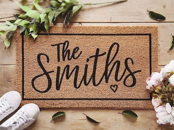Housewarming Gift / Family Name Doormat / Personalized Doormat / Closing Gift / Custom Family Welcome Mat / New Home / Personalized Gift