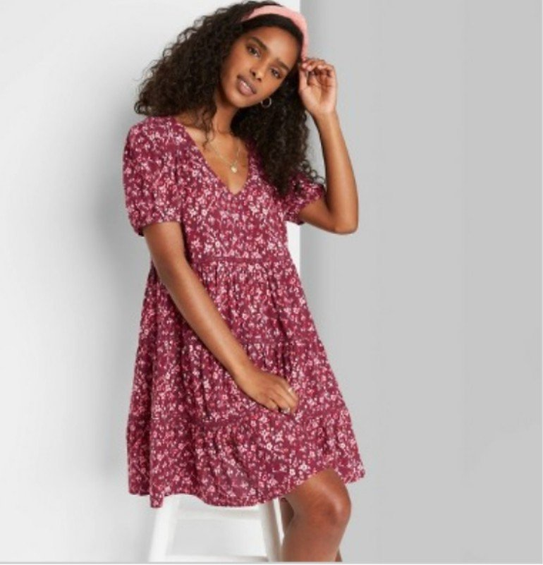 Women's Floral Print Short Sleeve Tiered Babydoll Dress - Wild Fable