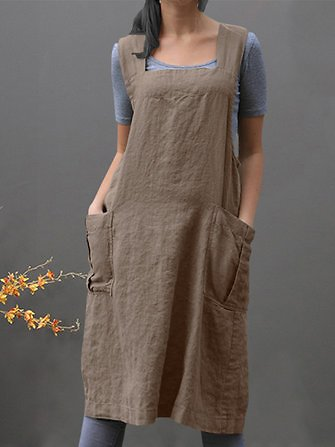 Women Sleeveless Side Pockets Cotton Loose Solid Color Vintage Apron Dress Dresses from Women's Clothing on Banggood.com