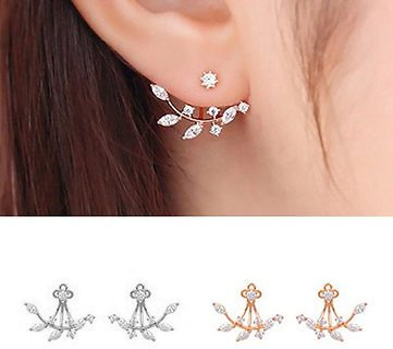 925 Silver Needle Leaves Cubic Zircon Crystal Stud Earrings For WomenJewelryfromJewelry,Watches & Accessorieson Banggood.com