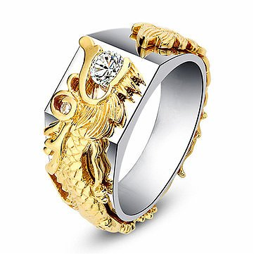 Luxury Gold Dragon Men Ring 18k Gold Plated Diamond Rings For MenJewelryfromJewelry,Watches & Accessorieson Banggood.com