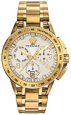 Versace Men's Swiss Chronograph Sport Tech Gold Ion-Plated Stainless Steel Bracelet Watch 45mm & Reviews - All Fine Jewelry - Jewelry & Watches
