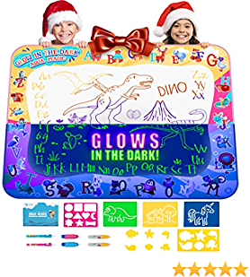 Kids Drawing Doodle Pad Mat Christmas Gift Toy, Water Writing Board, Aqua Magic Painting Coloring Set Kit for Toddlers - Educational Tablet Toys for Girls Boys Age 3 - 12 Years, Mess Free Pens Markers