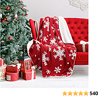 Bedsure Christmas Snowflake Sherpa Fleece Throw Blanket Red and White Holiday Blanket 50x60 Inches - Fuzzy Warm Throws for Winter Bedding, Couch,Sofa and Gift
