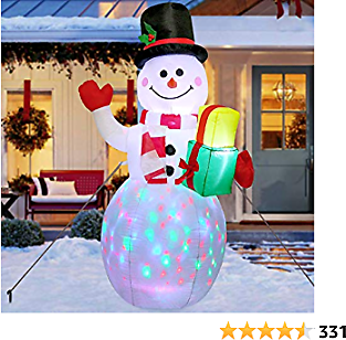 AerWo 5ft Christmas Inflatables Blow Up Yard Decorations, Upgrade Snowman Xmas Inflatable with Rotating LED Lights for Indoor Outdoor Yard Garden Christmas Decorations