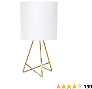 Simple Designs LT2066-GDW Down to The Wire Fabric Shade Table Lamp, Pack of 1, Gold/White