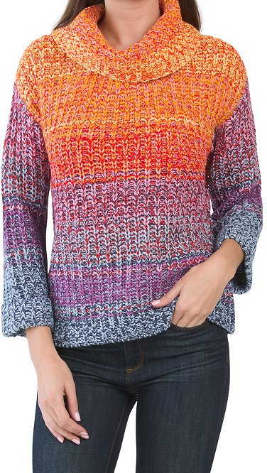 Cowl Neck Chunky Knit Pullover Sweater